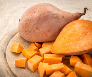 Whole and cubed sweet potatoes