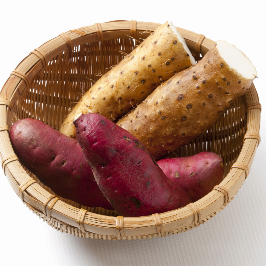 basket of wild yams and sweet potatoes to show the difference
