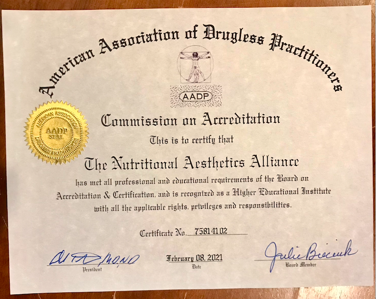AADP certificate of Professional Accreditation for the Nutritional Aesthetics Alliance