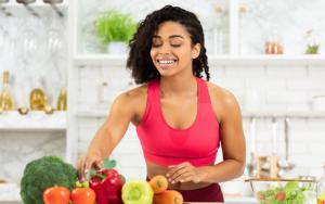 woman preparing vegetables
