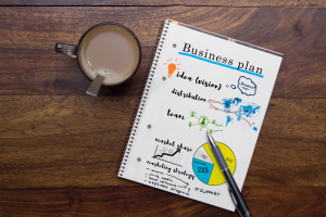 business plan notebook with cup of coffee