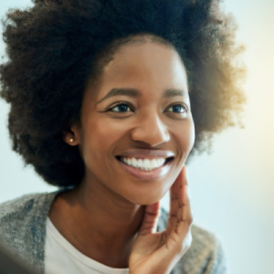 Black woman with glowing skin